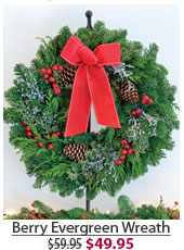 Berry Evergreen Wreath NOW $49.95